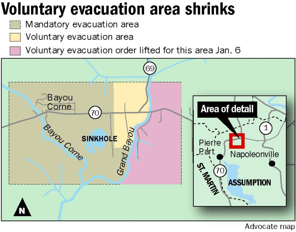 Sinkhole update: Methane threat diminishing, Assumption officials partially lift evacuation order _lowres