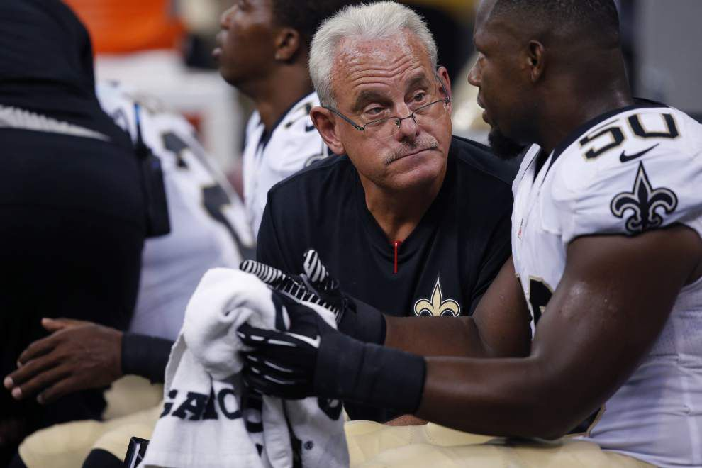 Saints assistant coaches using exhibition games to work on their own positioning _lowres