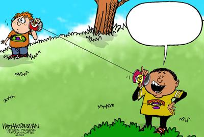 What are these kids talking about on these low-tech devices in Walt Handelsman's latest Cartoon Caption Contest?