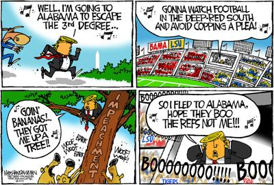 Walt Handelsman: Trump sings his way to the LSU/BAMA game in this cartoon...