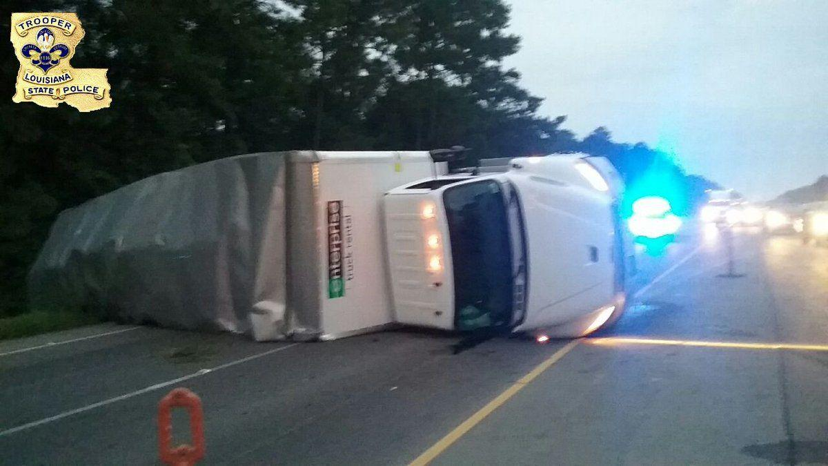 I-12 eastbound closed before Holden due to overturned box truck; expect delays