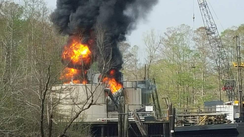 Authorities probing cause of tank explosion on oil production platform in Iberville Parish _lowres