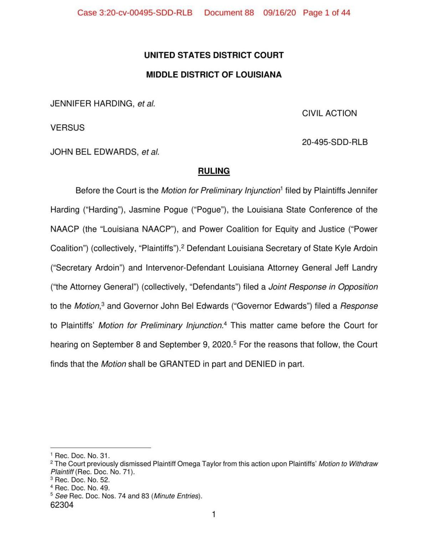 Judge's decision in Harding v Edwards 091620