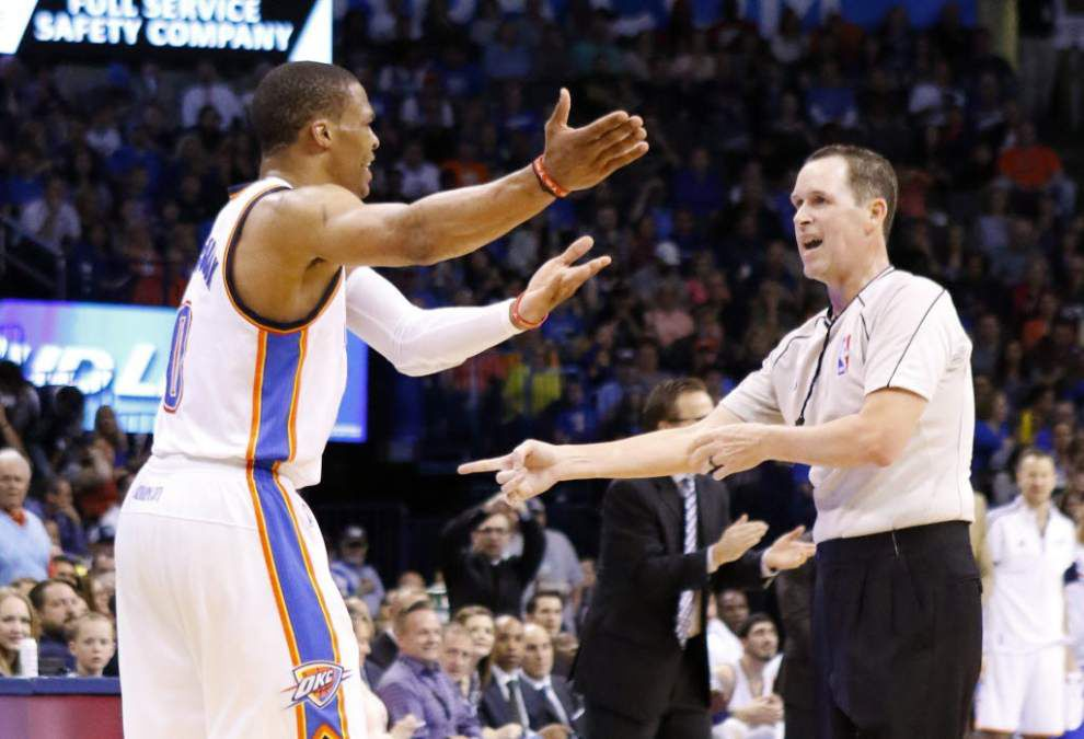 OKC guard Russell Westbrook avoids suspension with technical rescinded, will play in Monday's game against Portland _lowres