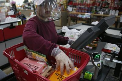 Coronavirus file photo stock of grocery shopping precautions