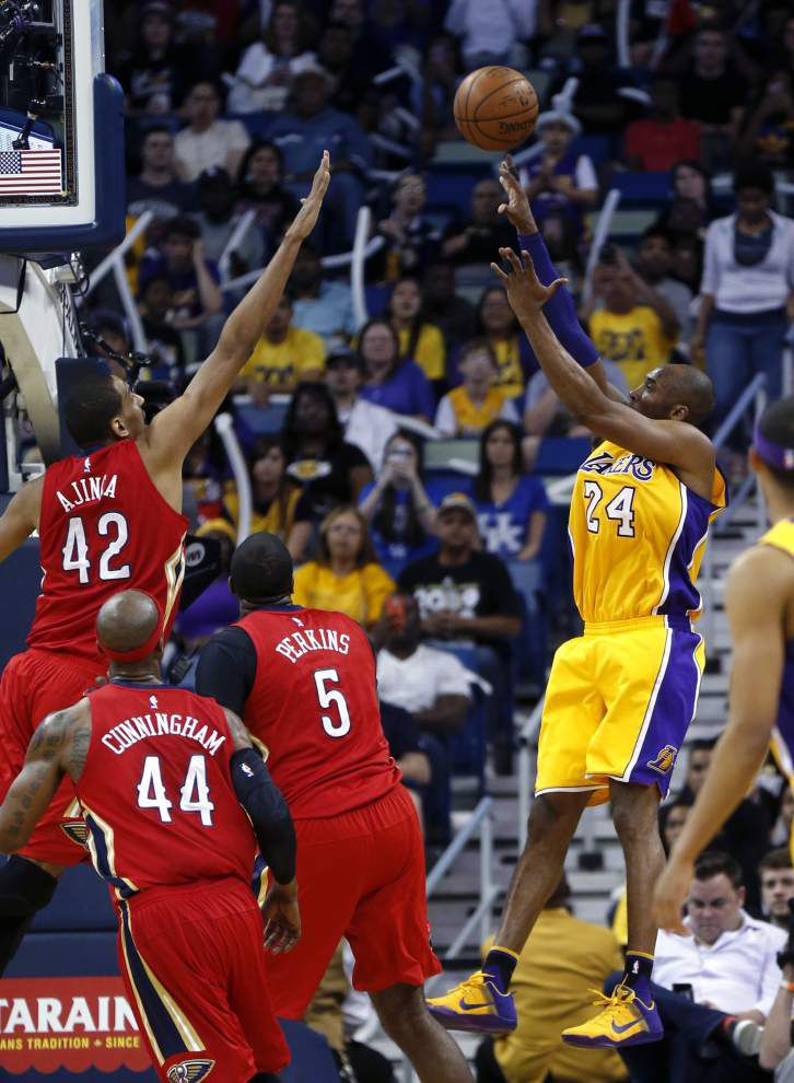 Pelicans role players steal the spotlight during Kobe Bryant's final visit to New Orleans, lead home team to 110-102 win _lowres