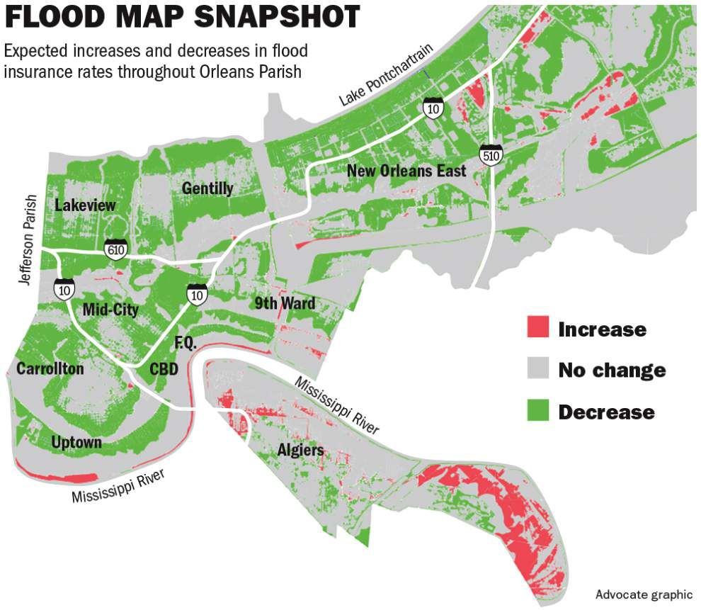 More than half of properties in New Orleans to see lower flood insurance premiums under new FEMA maps _lowres