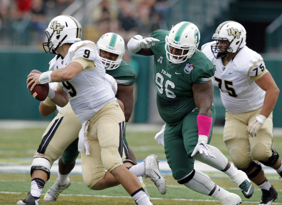 Royce LaFrance, with three sacks, leads a sturdy defense in Tulane's 45-31 win over UCF _lowres