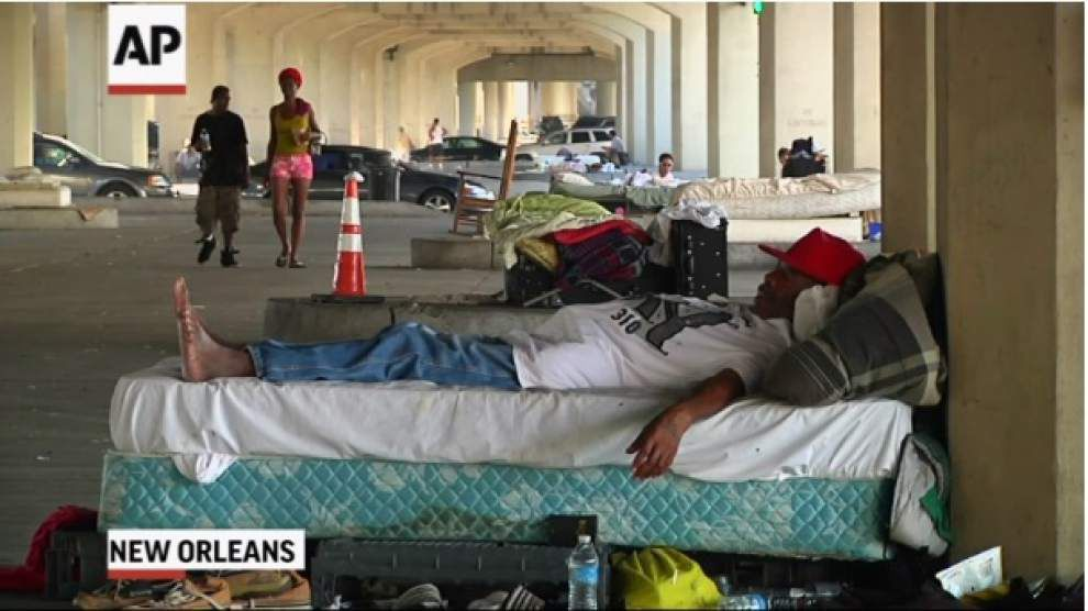 Homeless under freeway told to leave _lowres