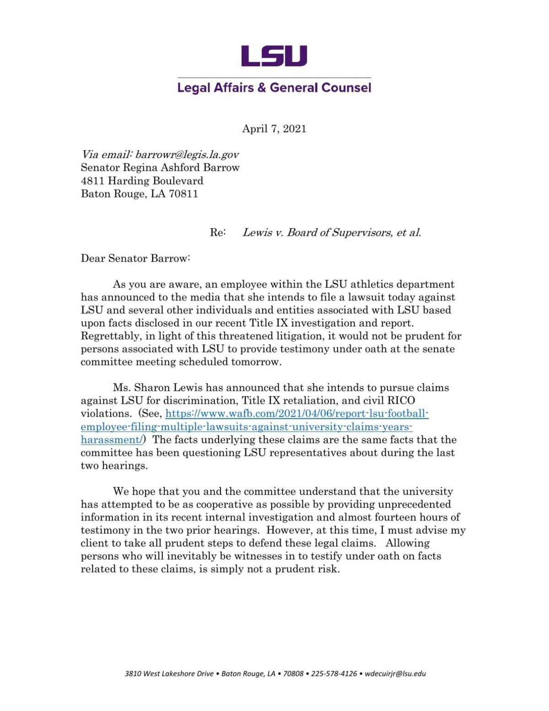 Winston DeCuir letter to legislative committee