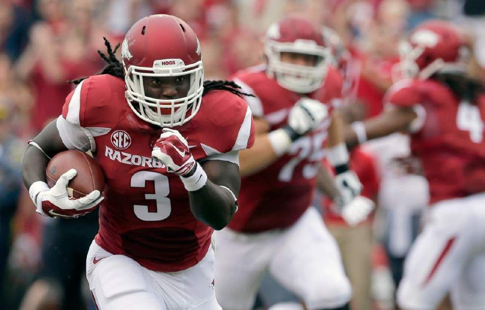 The other side: Arkansas running back Alex Collins _lowres