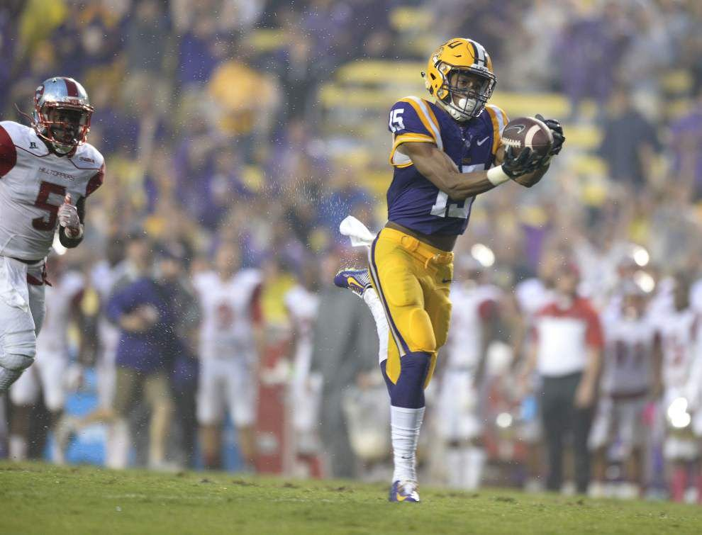 Brandon Harris' career night saves LSU from offensive inconsistency in 48-20 win against Hilltoppers _lowres
