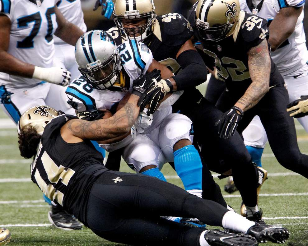 Veteran James Anderson leads Saints in tackles in first start in nearly two years _lowres