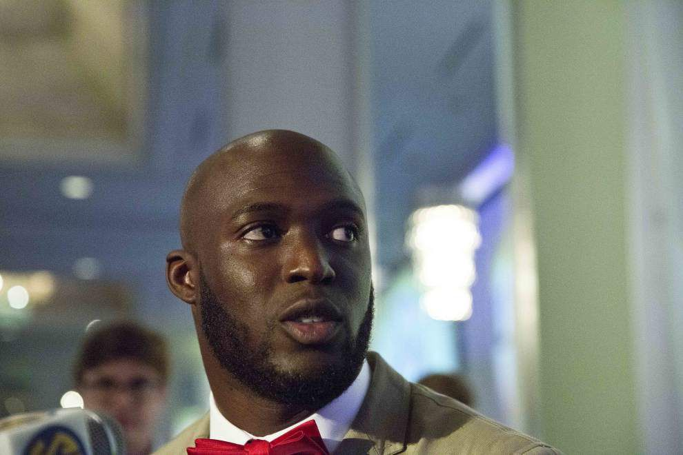 Behind the scenes at SEC Media Days with LSU's Leonard Fournette: Big smile, laughs, flashy red pants _lowres