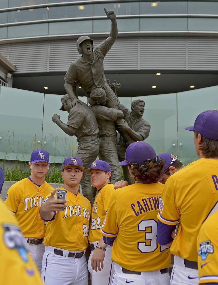 Photos: LSU visits TD Ameritrade Park, takes selfies with iconic 'Road to Omaha' landmark _lowres