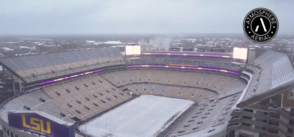 LSU Tiger Stadium snow