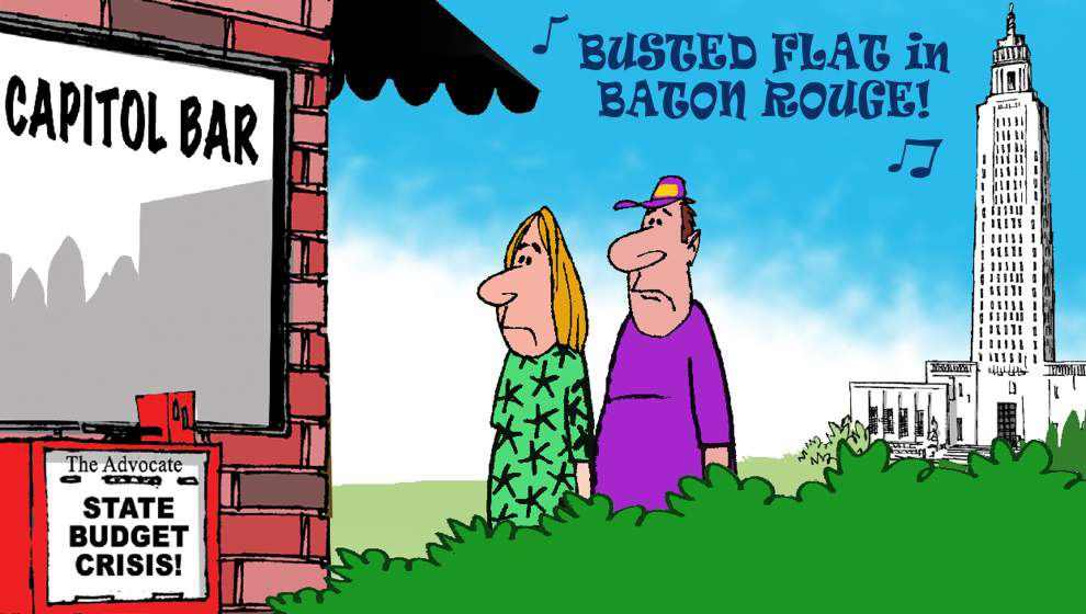 Walt Handelsman animation: Busted flat (budget) in Baton Rouge ... no wonder 'folks here love their booze!' _lowres