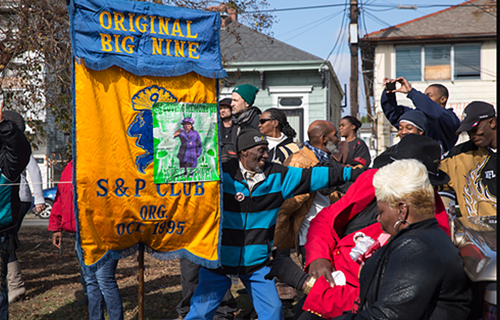 Second line Sunday: Big Nine & Lower 9th Ward Steppers parade_lowres