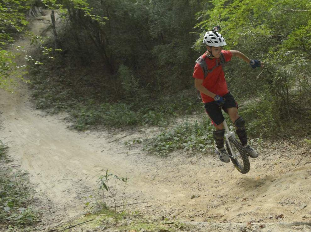 Central teen takes to the trails for off-road unicycling _lowres