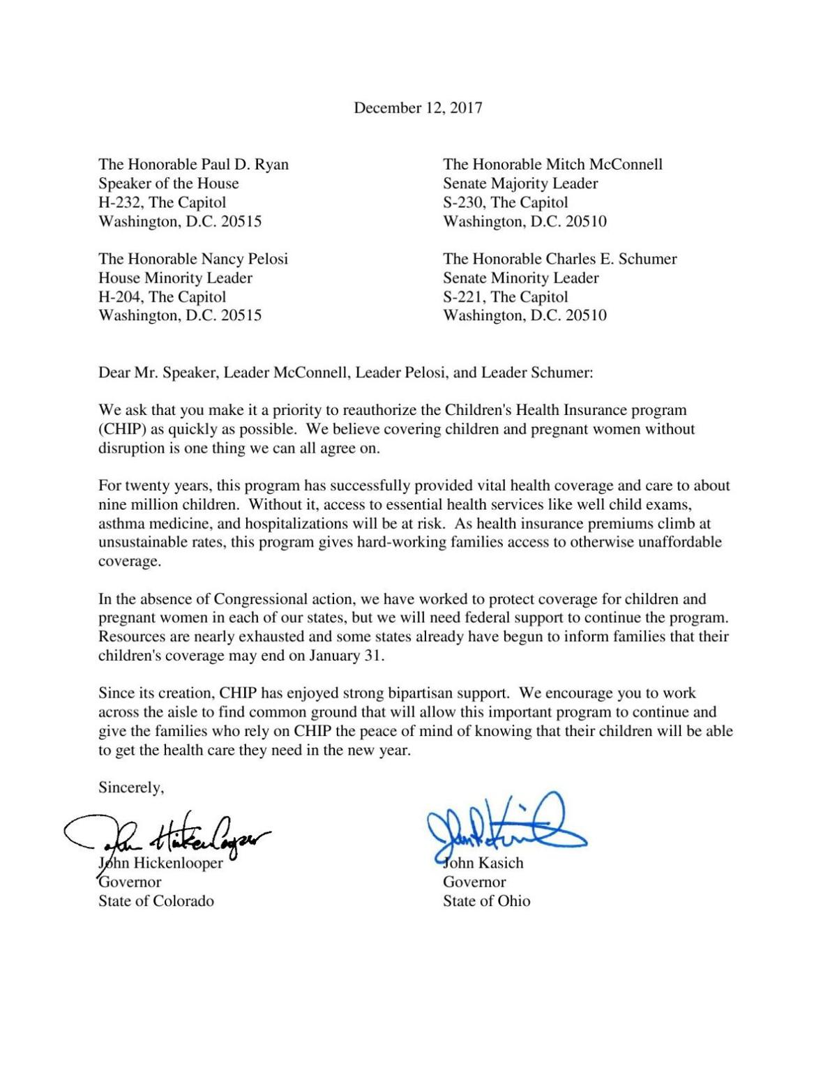 PDF: Read the letter Governors sent to Congress about CHIP