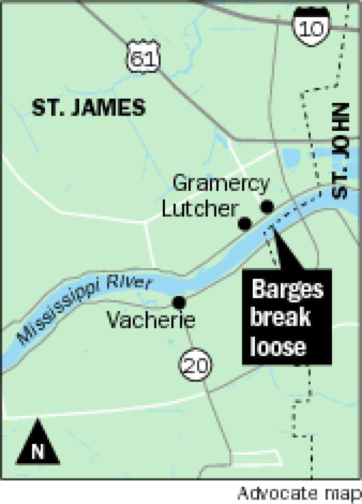 Five barges break loose on Mississippi River near Gramercy; one containing caustic soda overturns _lowres
