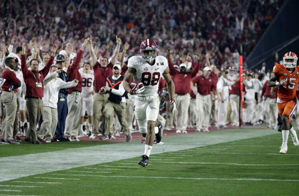 Alabama edges Clemson 45-40 for the national title, the Crimson Tide's fourth in the past seven years _lowres