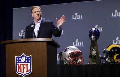 Rams Patriots Super Bowl Football. NFL Commissioner Roger Goodell ... 284a95bc8
