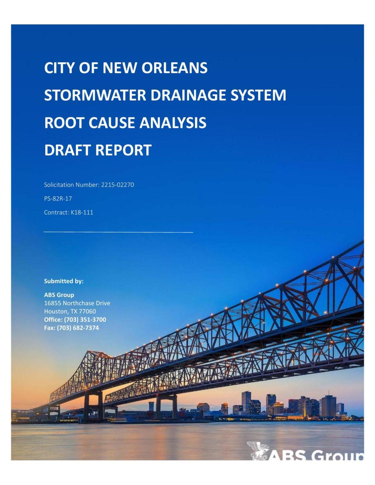 Draft Root Cause Analysis of New Orleans' Aug. 5 Flood