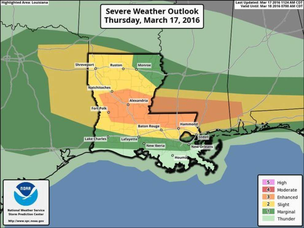 Severe thunderstorm watch for Baton Rouge area until 8 p.m. _lowres