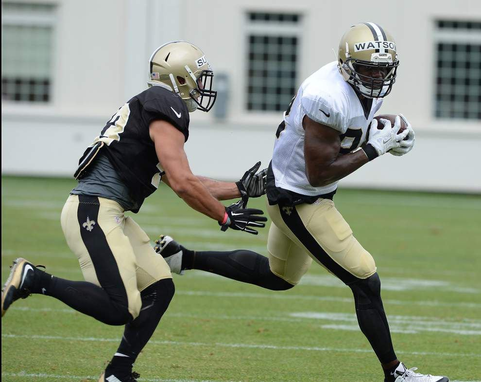 Photos: RJ Harris pulls in great catch; Benjamin Watson breaks loose in Saints scrimmage Friday _lowres