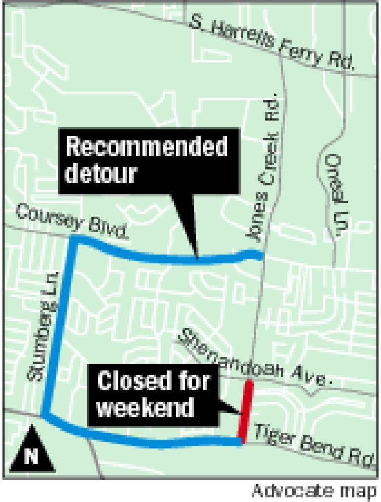 Jones Creek Road from Shenandoah Avenue to Tiger Bend Road to close for weekend starting Friday night _lowres