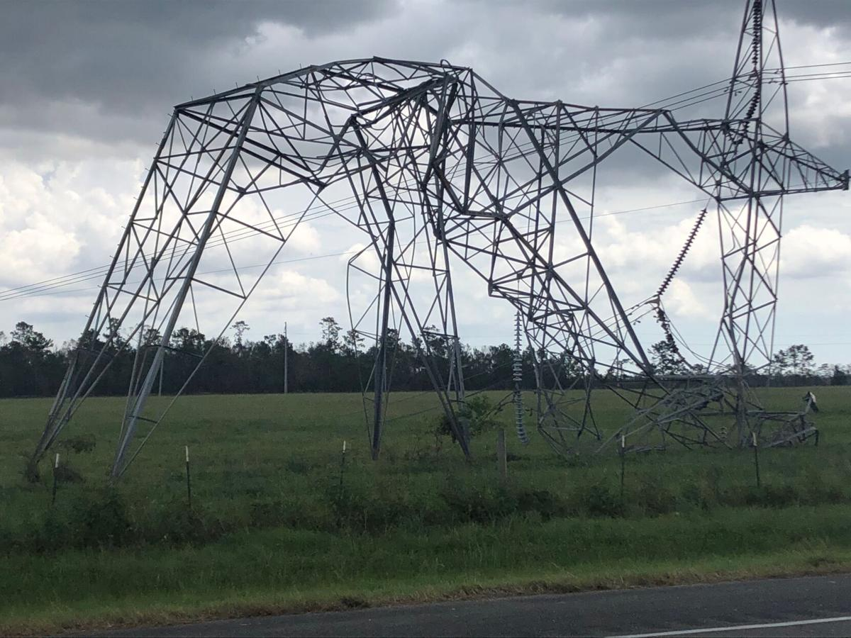 Transmission tower downed by Hurricane Laura
