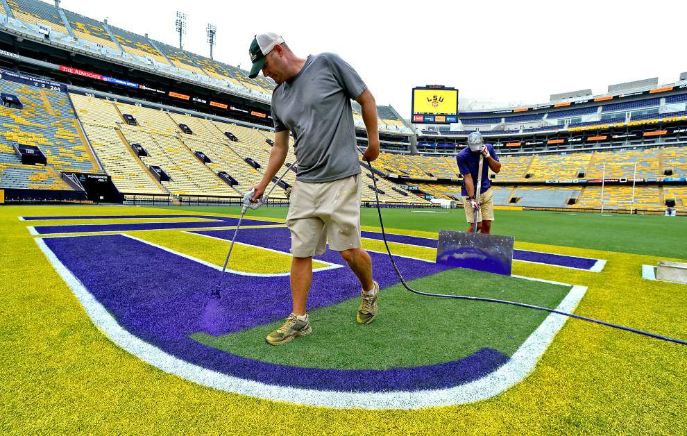 Photos: LSU's Tiger Stadium field gets final touches before Saturday's season opener _lowres