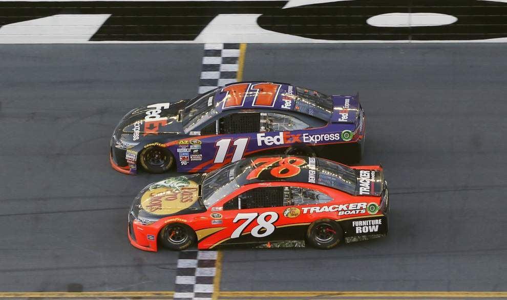 Landmark Daytona 500 wins for Toyota and Joe Gibbs Racing as Denny Hamlin edges Martin Truex Jr. in a photo finish _lowres