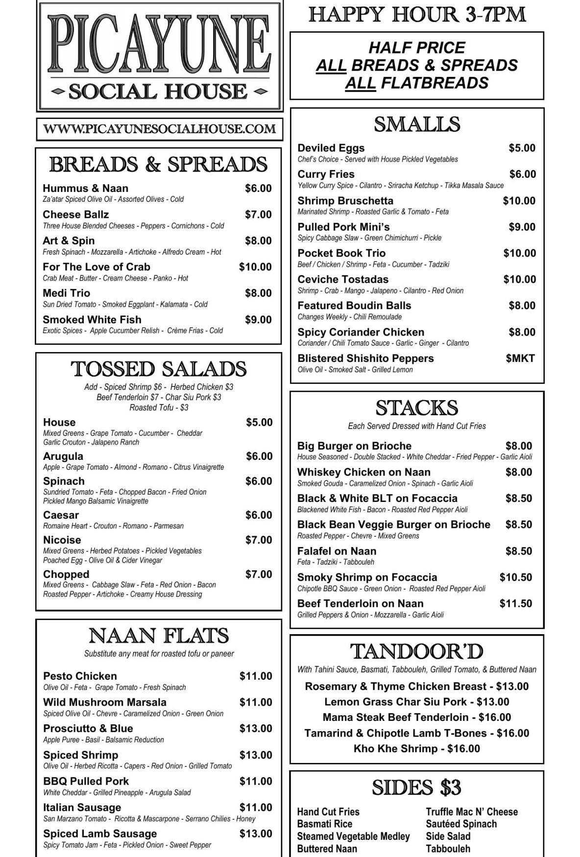Picayune Social House menu