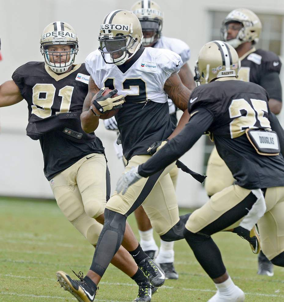 Saints receiver Marques Colston 'looking forward' to first preseason action against the Patriots on Saturday _lowres