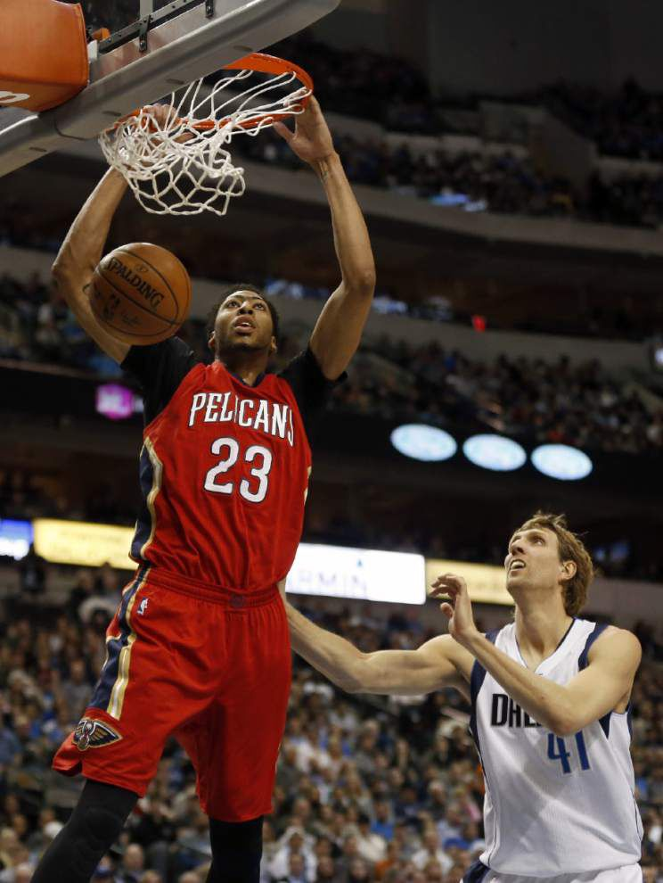A little motivation from his coach helped the Pelicans' Anthony Davis get rolling in Saturday's win at Dallas _lowres