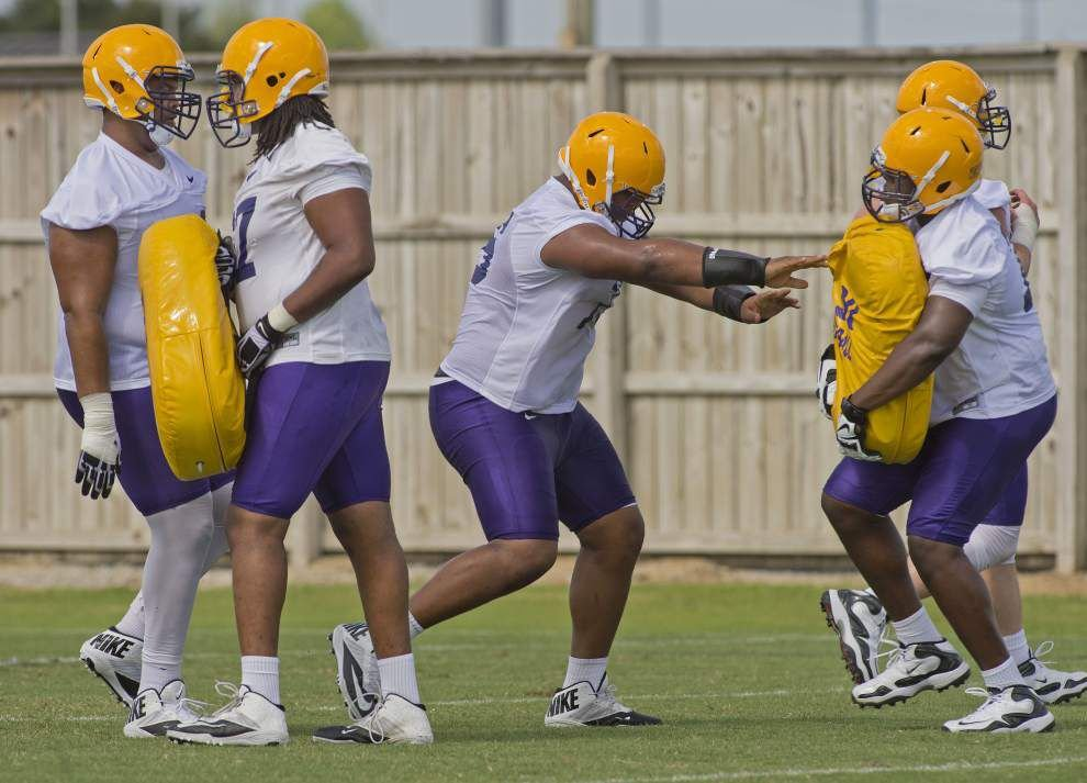 Less than a week before season opener, three LSU players battling for starting guard spots on O-line _lowres