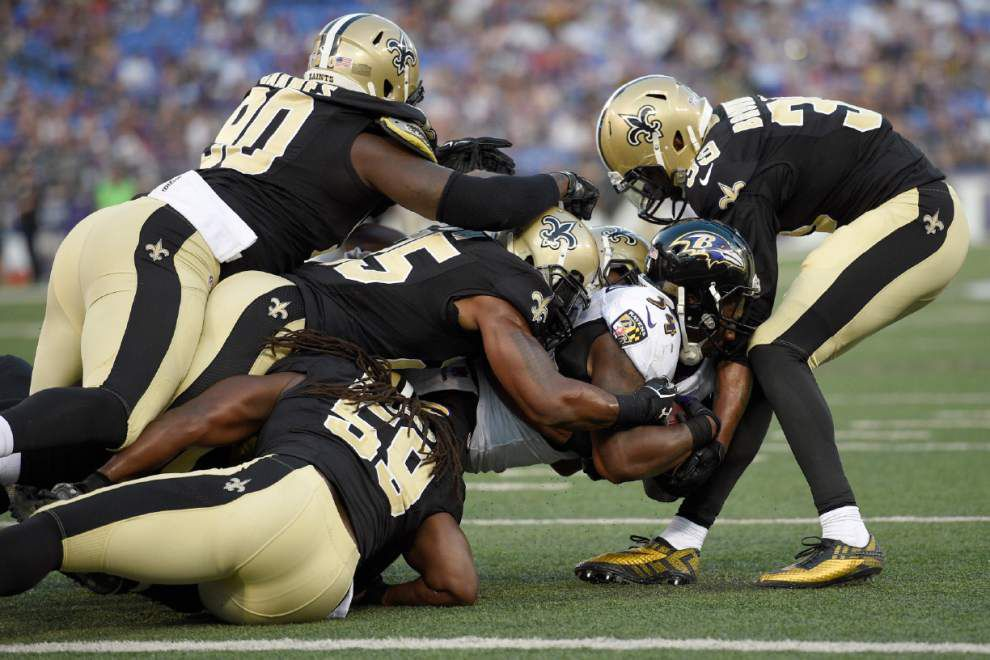 Source: Saints linebacker Dannell Ellerbe re-aggravates toe injury in preseason loss to Ravens _lowres