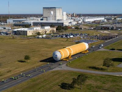 NASA Moves First Artemis SLS Rocket Stage from NASA's Factory to