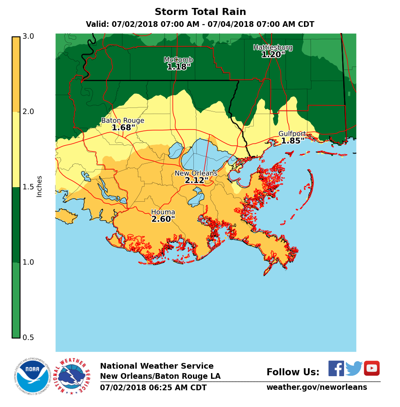 Projected rainfall for south Louisiana through the morning of July 4, 2018