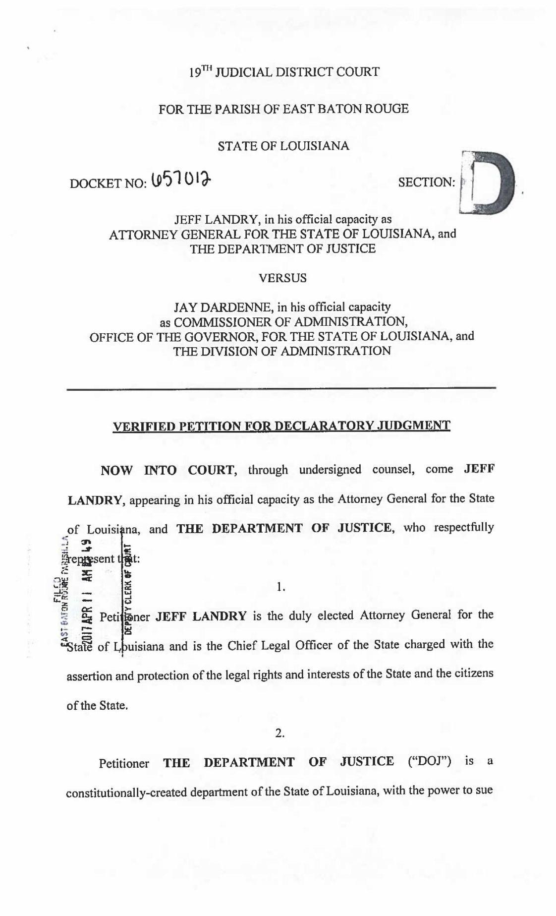 PDF: AG Jeff Landry's suit against Gov. John Bel Edwards' adminstration