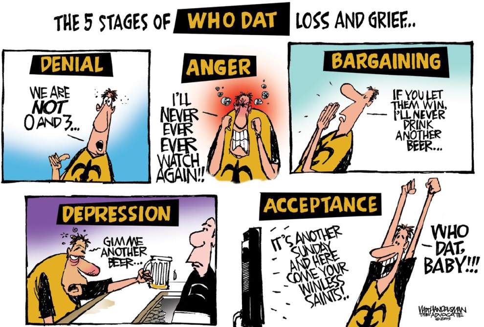 Walt Handelsman: The 5 stages of being a Who Dat _lowres