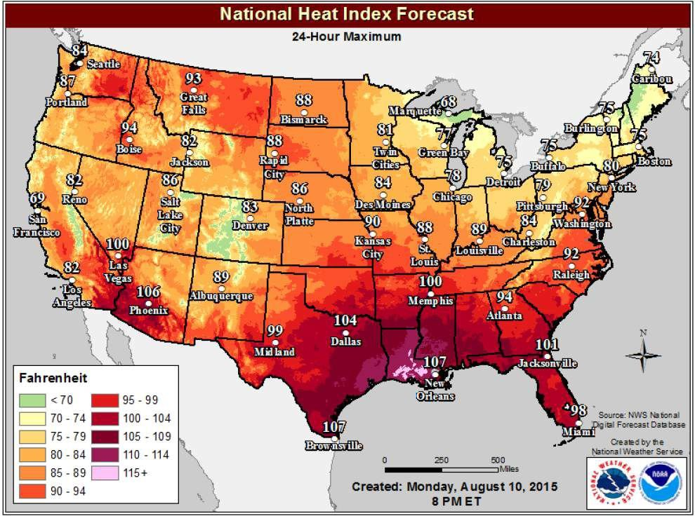 We're No. 1 ... South Louisiana forecast to be hottest place in country Tuesday after record Monday _lowres