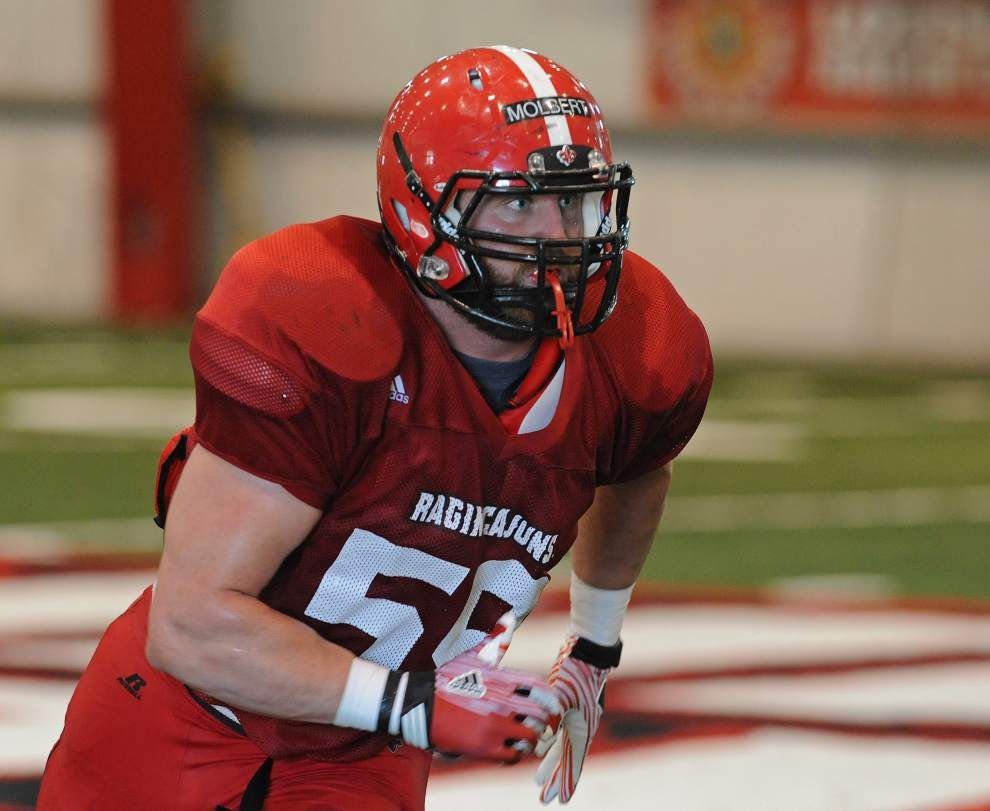 Cajuns linebacker Jake Molbert goes full bore whether practice or games _lowres