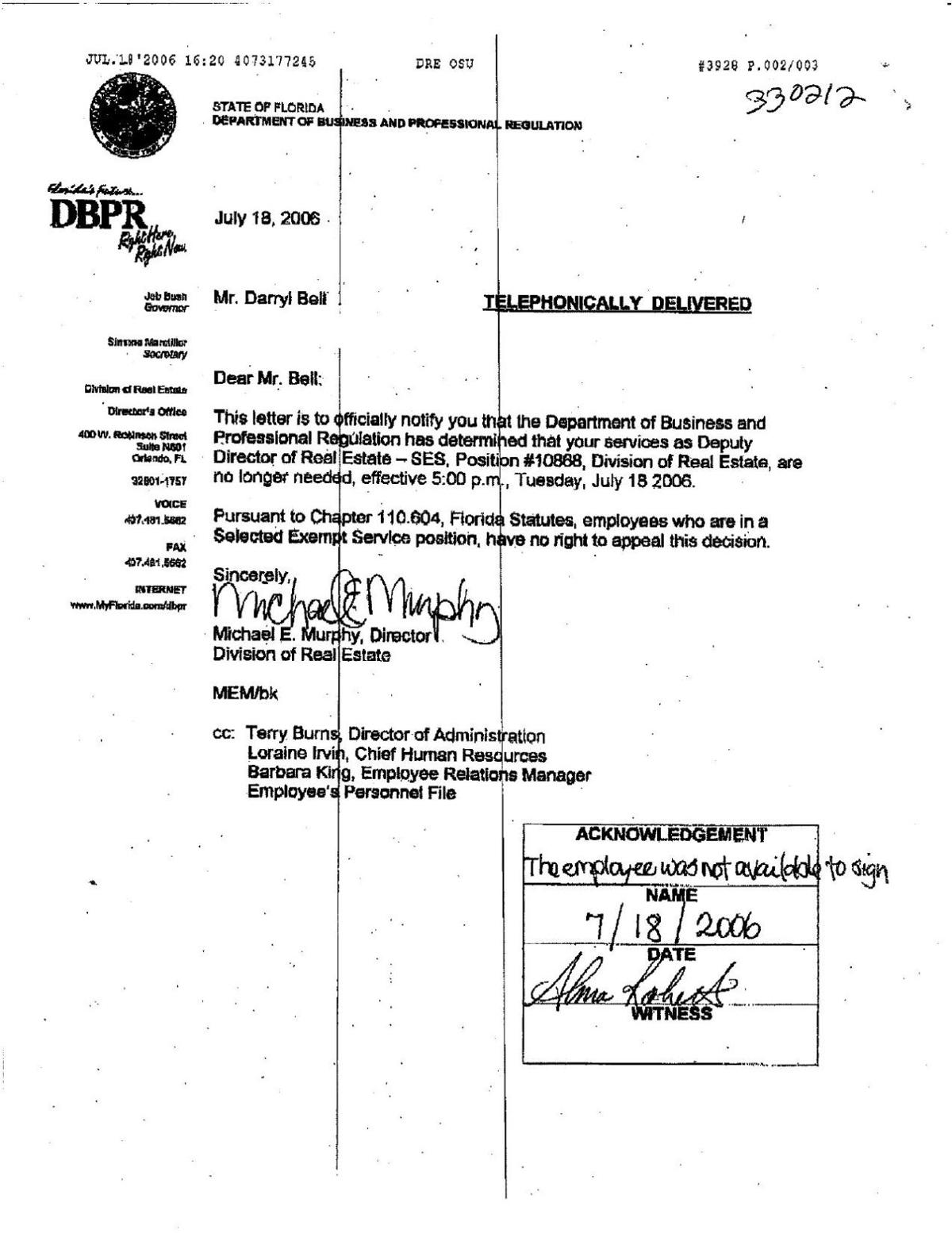 Troy Bell real estate termination letter