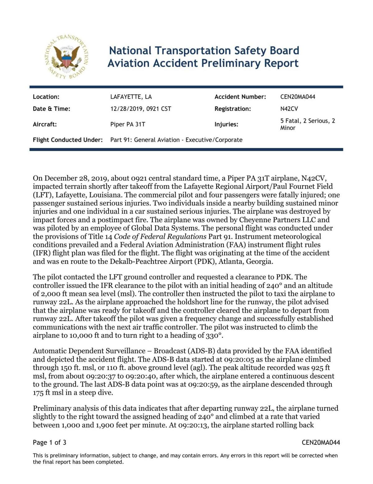 NTSB Preliminary Report on Dec. 28 crash