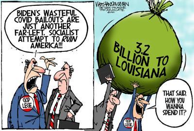 Walt Handelsman: Bailout Bluster