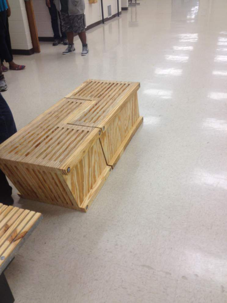 Lee High scraps get second life as school benches _lowres