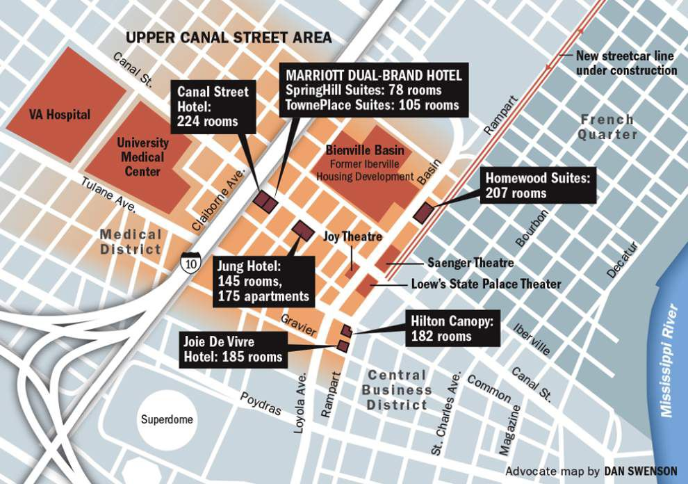 Marriott New Orleans Map.A Watershed Year Upper Canal Street Once A Main Commercial